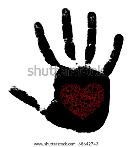 Print of a hand with heart. Vector illustration - stock vector