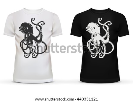 Print of cartoon octopus with tentacles on sportswear or casualwear unisex or men black, and white cotton t-shirt with short sleeve and u-neck collar for adult or teenager usage - stock vector