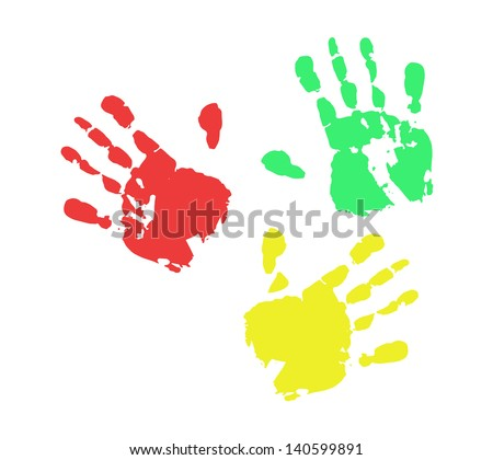 Print of hand from ink colorful RGB - stock vector