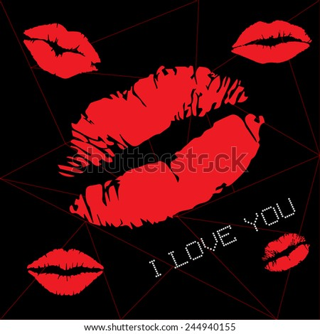 print of red lips vector - stock vector