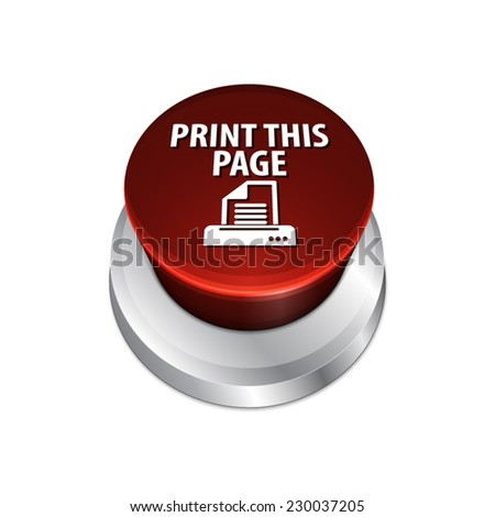 Print page button with text and printer icon - EPS10 - stock vector