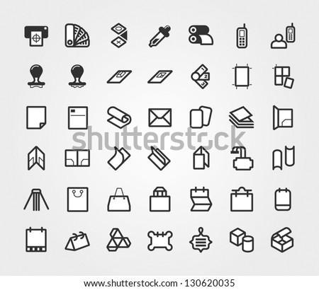 Print & Prepress Icons Set - stock vector