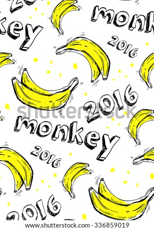"print, seamless pattern with with yellow bananas, inscription ""monkey 2016"" on a white background, vector illustration - stock vector"