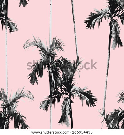 Print summer seamless vector pattern with tropic banana palm tree. Exotic pink background. trendy black and white floral wallpaper. - stock vector