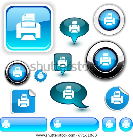 Print vector glossy icons. - stock vector