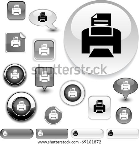 Print vector grey icons. - stock vector