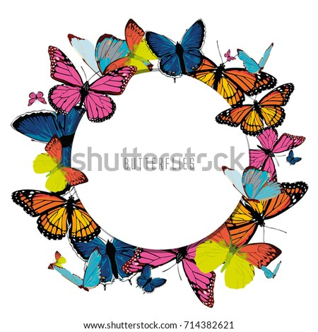 Print With Color Bright Butterflies