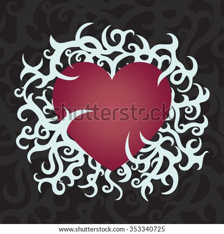 Print with heart and ornaments. Celtic pattern. Tattoo. Vector illustration