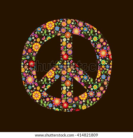 Print with peace flower symbol - stock vector