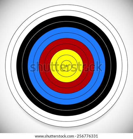 Printable Archery, Arrow Target with Cross at Center - stock vector