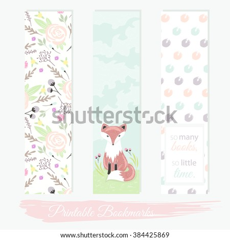 Printable bookmarks with flowers, fox and polka dots. Vector templates for posters, flyers, banner designs, journal cards, scrapbook, planner, diary journaling. - stock vector