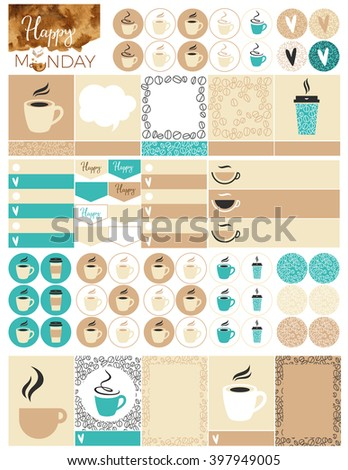 Printable Coffee Planner Stickers. File is for 8.5 X 11 inch.  - stock vector