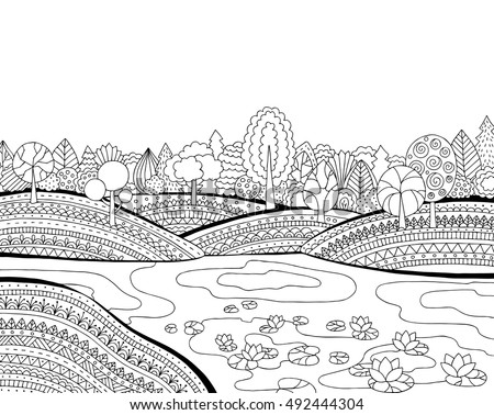 Printable Coloring Page Adults Landscape Lake Stock Vector