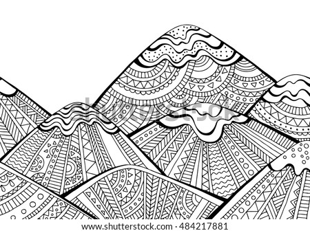 printable coloring page for adults with mountain landscape hand drawn vector illustration - Mountain Coloring Pages Printable