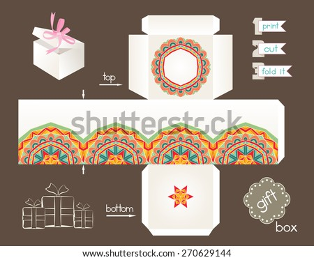 printable gift boxes printable gift box abstract ethnic pattern stock vector 2767