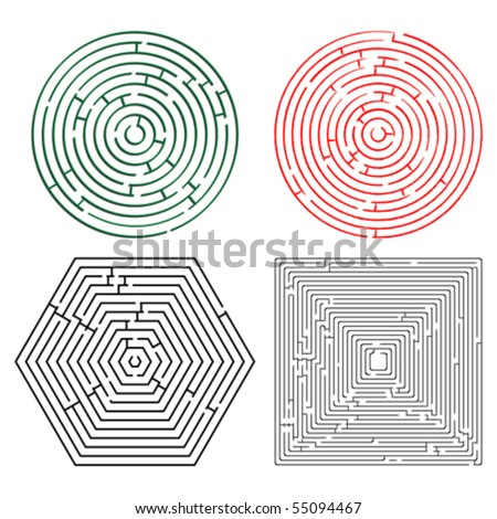 printable mazes collection against white background, abstract vector art illustration - stock vector