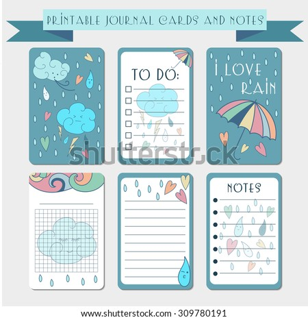 Printable notes, journal cards, labels, memo with hand drawn cloud, rain drops, umbrella and hearts. Template for scrap booking, notepad, diary. Vector autumn illustrations set. Color doodle theme. - stock vector