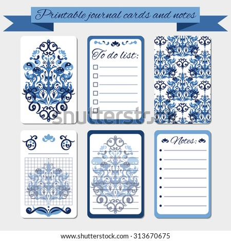 Printable notes, journal cards, labels, with blue damask ornament. To do list, memories template. - stock vector