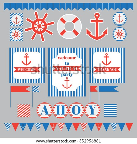 Printable set of vintage nautical party elements. Templates, labels, icons and wraps