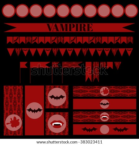 Printable set of vintage Vampire party elements. Templates, labels, icons and wraps vector - stock vector