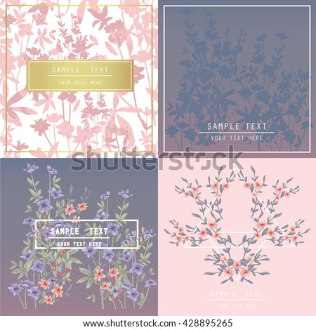 Printable spring wall art with floral pattern and typography set. Vector template with flowers for invitation, posters, flyers, journal cards, scrapbook.
