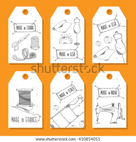Printable tags in a retro style Hand-drawn. Sewing devices, devices for manufacturing, tailoring and textiles. Made in the USA, China, India and Germany. Fashion Europe, America. Vector illustration - stock vector