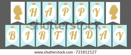 Printable template flags cute pennant banner stock vector for Happy birthday crown template