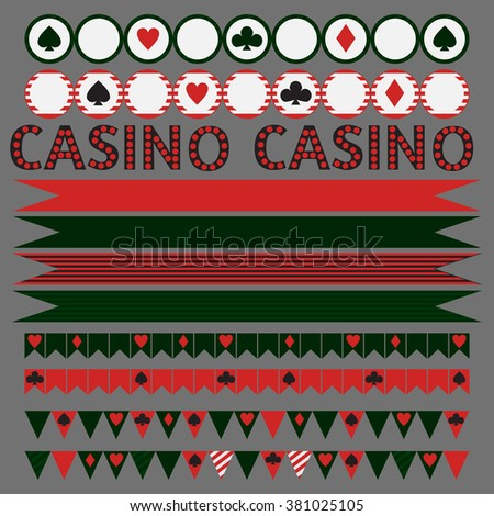 Printable tribal set of vintage casino party elements. Templates, labels, icons and wraps vector - stock vector