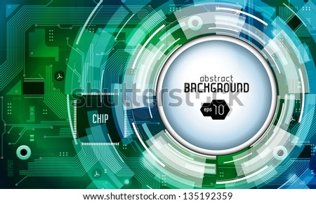 Printed Circuit Board With Chip CPU Processor Vector Background Green EPS10 - stock vector
