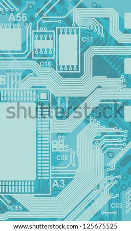 printed circuits chips background - stock vector
