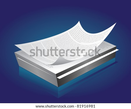 Printed paper in bulk - stock vector
