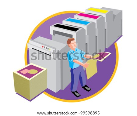 Printer at work design and print service vector icon illustration - stock vector