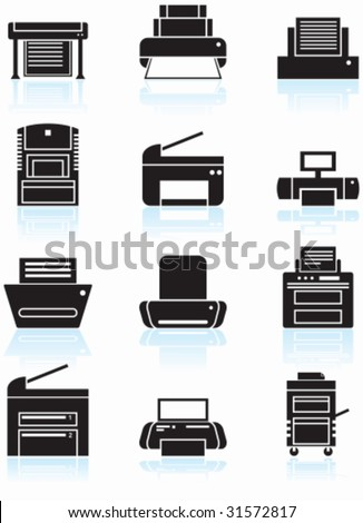 Printer Black Icon Set : Set of printing device themed buttons in a minimal style. - stock vector