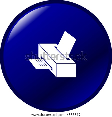 printer button - stock vector