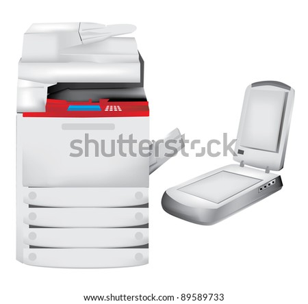 Printer, copier and scanner set - stock vector