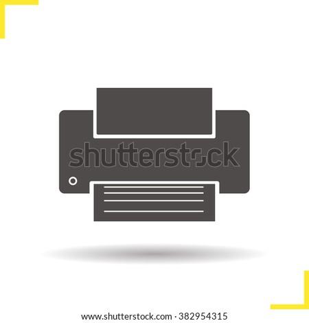 Printer icon. Drop shadow desktop printer icon. Modern office print equipment.  Document printing equipment. Isolated printer black illustration. Printer logo concept. Vector silhouette printer symbol - stock vector
