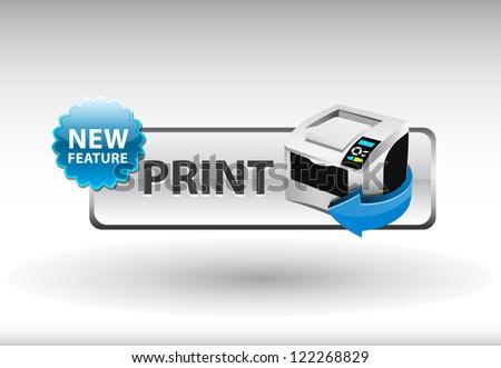 printer icon, print Button - stock vector