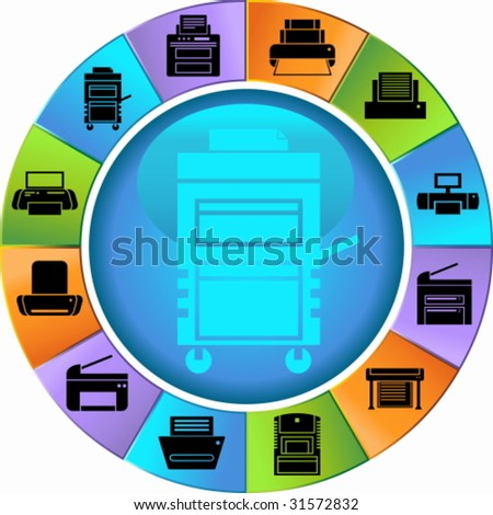 Printer Icon Wheel Set : Set of printing device themed buttons in a minimal style. - stock vector