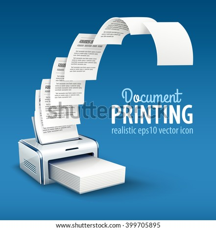 Printer printing copies of text to paper with copyspace vector icon. Illustration. Pages document sheets moving from device, smart modern office concept.