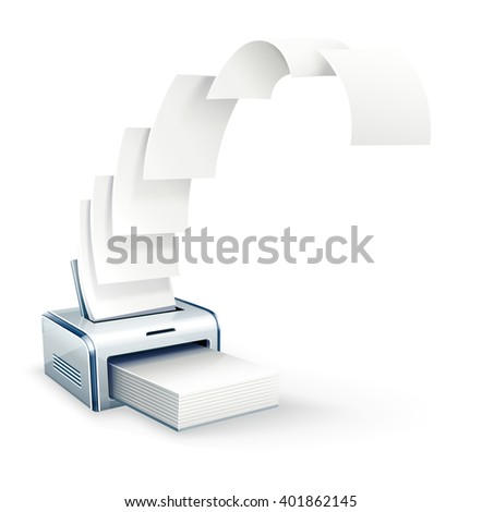 Printer printing copies to white paper vector icon. Illustration. Copying documents. Business concept. White paper  - stock vector