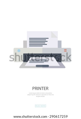 Printer, printing , office. Flat design,web design,infographics ,business, symbol.Be used for data visualization in a web site,information boards,billboards,brochures,flyers,magazines,etc. - stock vector