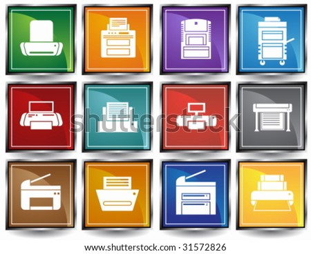 Printer Square Icon Set : Set of printing device themed buttons in a minimal style. - stock vector