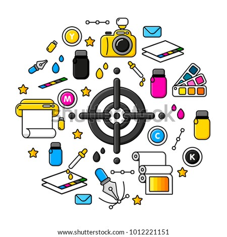Printing Coloring Tools Printing Label Cross Stock Vector 1012221151 ...