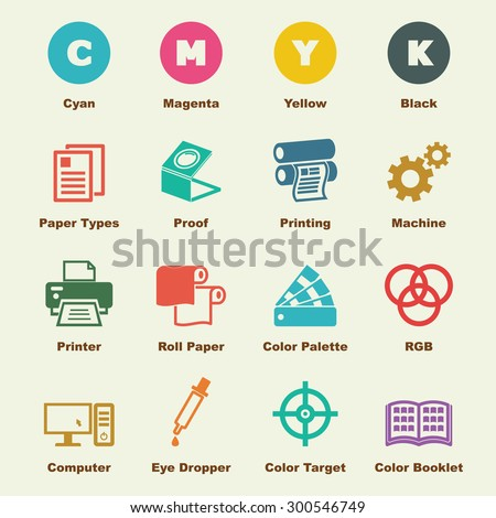 printing elements, vector infographic icons - stock vector