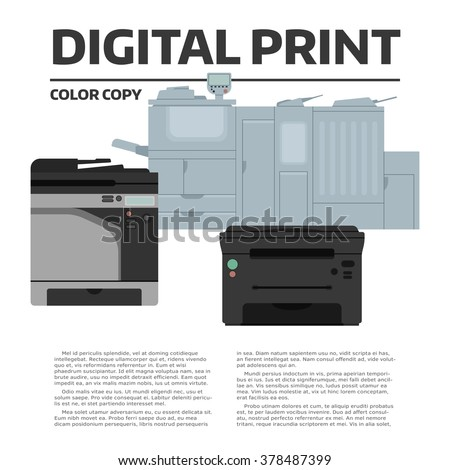 Printing equipment. Color printer collection with sample text. Copy, print and scan machine. Vector press industry illustration. Advertising, brochure, presentation design. Modern digital equipment. - stock vector