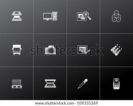 Printing & graphic design icon series in metallic style - stock vector