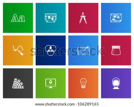 Printing & graphic design icon series in Metro style - stock vector