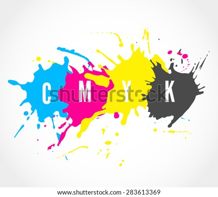 Printing house logo with ink splashes elements in a CMYK color scheme isolated on white background.  Vector colorful stains and blots for prinhouse branding and other design concepts - stock vector