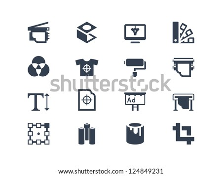 Printing  icons - stock vector