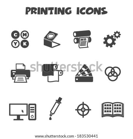 printing icons, mono vector symbols - stock vector
